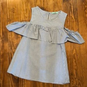 Karlie Cold Shoulder Blue Check Top